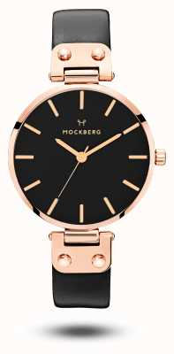 Mockberg Sigrid Black Rose Gold PVD Plated Black Leather Strap MO110