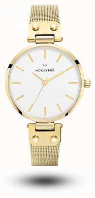 Mockberg Women's Livia Gold PVD Plated Mesh Bracelet White Dial MO1601