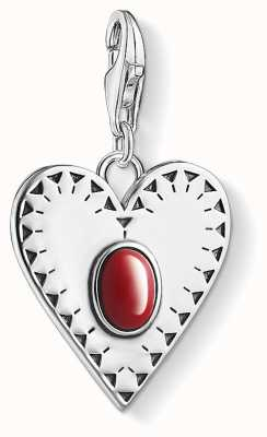 Thomas Sabo Heart Red Stone Sterling Silver Simulated Coral 1683-111-10