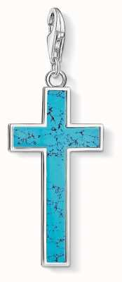 Thomas Sabo Turquoise Cross Sterling Silver Charm Pendant Y0021-404-17