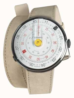 Klokers KLOK 01 Yellow Watch Head Grey Alcantara 420mm Double Strap KLOK-01-D1+KLINK-02-420C6