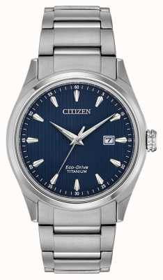 Citizen Men's blue dial Silver Tone Super Titanium bracelet BM7360-82L