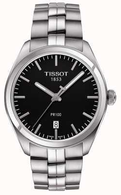 Tissot Mens PR100 Black Dial Stainless Steel Bracelet T1014101105100