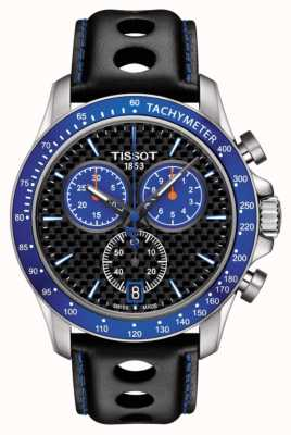 Tissot Mens V8 Alpine Blue Dial Carbon Fibre Dial Black Leather T1064171620101