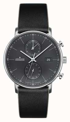 Junghans Mens Form C Chronoscope Black Leather Strap 041/4876.00