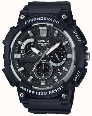 Casio Chronograph Black Resin Case Black Resin Strap Date Display MCW-200H-1AVEF