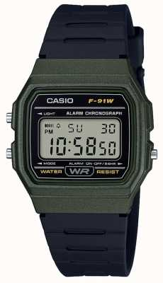 Casio Alarm Chronograph Green & Black Case F-91WM-3AEF