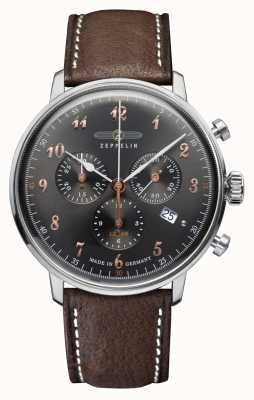 Zeppelin Hindenburg Black Dial Brown Leather Strap Hesalite Crystal 7088-2