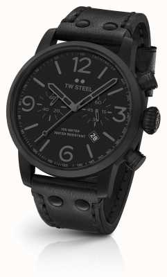 TW Steel Maverick Caliber Chronograph Black Leather Strap black Dial MS114