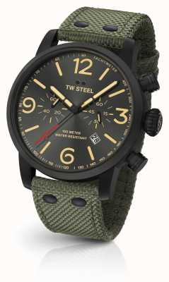 TW Steel Maverick Caliber Chronograph Black Leather Strap black Dial MS124