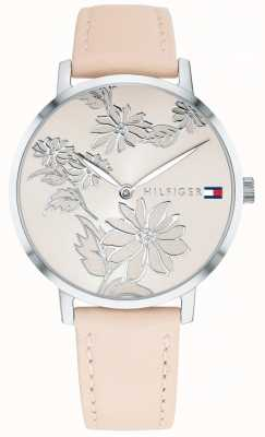 Tommy Hilfiger Pippa Pink Floral Silver Print Dial Pink Nude Leather Strap 1781919