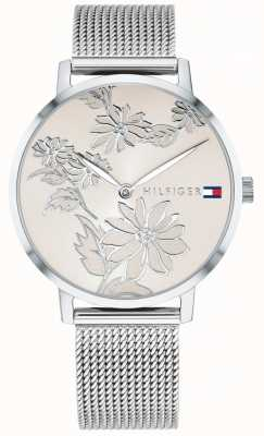 Tommy Hilfiger Women's Pippa Silver Floral Print Dial Stainless Steel Mesh 1781920
