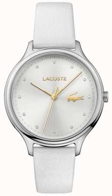 Lacoste Ladies Constance Crystal Set Silver Dial White Leather Strap 2001005