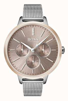 Hugo Boss Black Symphony Day & Date Display Rose Gold Case Mesh Strap 1502423