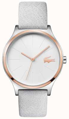 Lacoste Silver Dial Rose Gold Case Grey Leather Strap 2001013