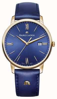 Maurice Lacroix Mens Eliros Gold Plated Case Blue Dial Leather Strap EL1118-PVP01-411-1