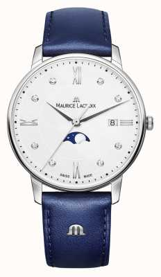 Maurice Lacroix Eliros Moonphase Blue Leather Strap Silver Dial EL1096-SS001-150-1