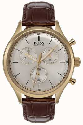 Hugo Boss Mens Companion Chronograph Watch Brown Leather Strap 1513545