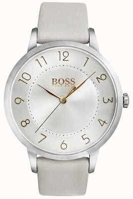 Hugo Boss Womens Eclipse Watch White Leather Buckle 1502405