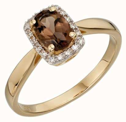 Elements Gold 9k Yellow Gold Smoky Quartz Cluster Ring GR533Y