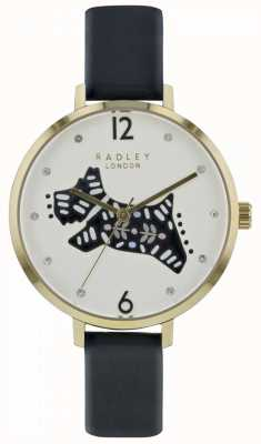 Radley Womens Folk Dog Watch White Dial Black Leather Strap RY2580