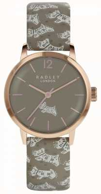 Radley Womens Folk Dog Watch Grey Dial Grey Leather Strap RY2572