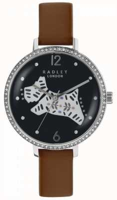 Radley Womens Folk Dog Watch Black Dial Brown Leather Strap RY2585