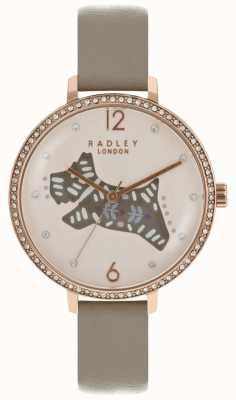 Radley Womens Folk Dog Watch Pink Dial Grey Leather Strap RY2586
