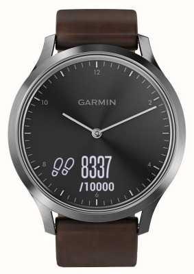 Garmin Vivomove HR (Large) Premium Activity Tracker Steel/Leather 010-01850-04