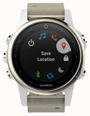 Garmin Fenix 5S Sapphire Gold Tone Grey Leather (spare white strap) 010-01685-13