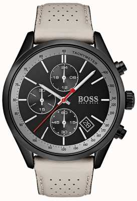 Hugo Boss Mens Grand-Prix Watch Black Chronograph Grey Leather Strap 1513562