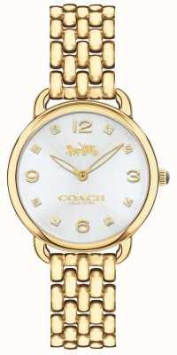 Coach Womens Delancey Slim Gold Tone Bracelet Watch Silver Dial 14502782