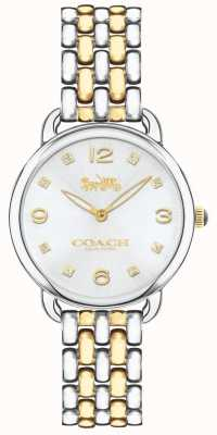 Coach Womens Delancey Slim Two Tone Bracelet Watch Silver Dial 14502784