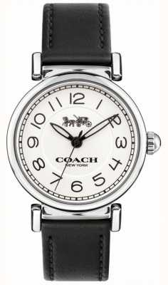 Coach Womens Madison Watch Black Leather Strap White Dial 14502860