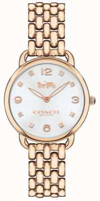 Coach Womens Delancey Slim Rose Tone Bracelet Watch Silver Dial 14502783