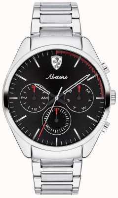 Scuderia Ferrari Mens Abetone Stainless Steel Bracelet Watch Black Chrono 0830505