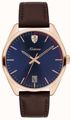Scuderia Ferrari Mens Abetone Brown Leather Strap Watch Blue Dial 0830500
