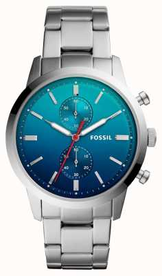 Fossil Mens Townsman Watch Blue Ombre Dial Stainless Steel Bracelet FS5434