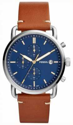 Fossil Mens Commuter Watch Blue Chronograph Tan Leather Strap FS5401