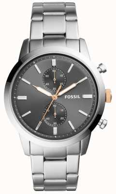 Fossil Mens Townsman Watch Grey Dial Stainless Steel Bracelet FS5407