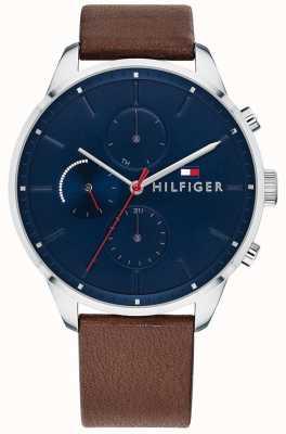 Tommy Hilfiger Men's Chase Chronograph Brown Leather Bracelet Blue Dial 1791487