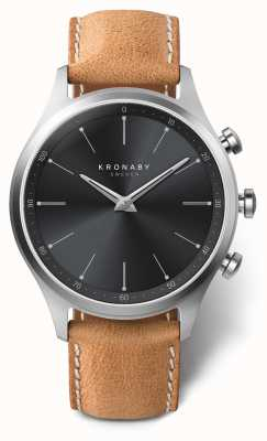 Kronaby 41mm SEKEL Black Dial Brown Leather Strap A1000-3123 S3123/1