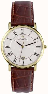 Michel Herbelin Sonates | 38mm | White Dial | Brown Leather Strap 12248/P08MA