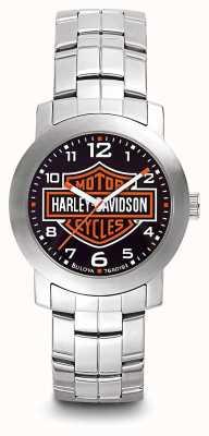 Harley Davidson Men's Logo Print Dial Stainless Steel Bracelet 76A019