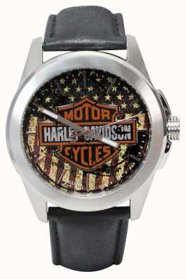Harley Davidson American Flag Print Logo Dial Stainless Steel Case Leather 76A153