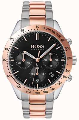 Hugo Boss Men's Talent Black Dial Rose Gold & Silver Two Tone Bracelet 1513584