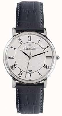 Michel Herbelin Mens Classic Black Leather Strap White Dial 12248/08