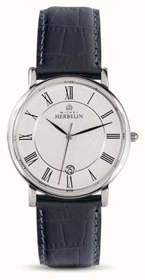 Michel Herbelin Mens Classic Black Leather Strap White Dial 12248/08