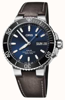 Oris Mens Aquis Big Day Date Blue Dial Brown Leather 01 752 7733 4135-07 5 24 10EB
