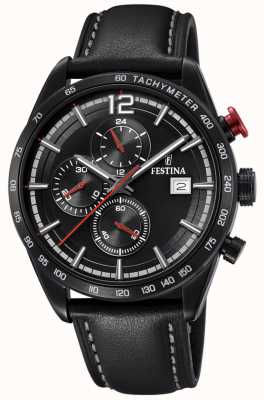 Festina Mens Sport Chronograph Black Leather Strap Black Dial F20344/3